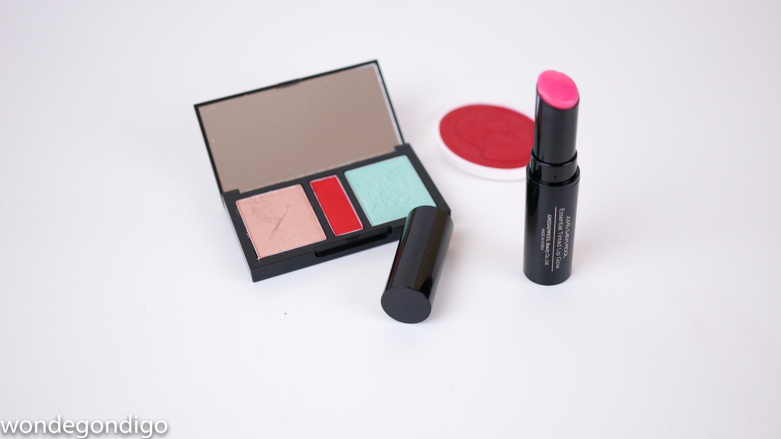 I'm wearing the Essential Tinted Lip Glow (a tinted balm) in Pink Glow, and a discontinued Laduree Blush.