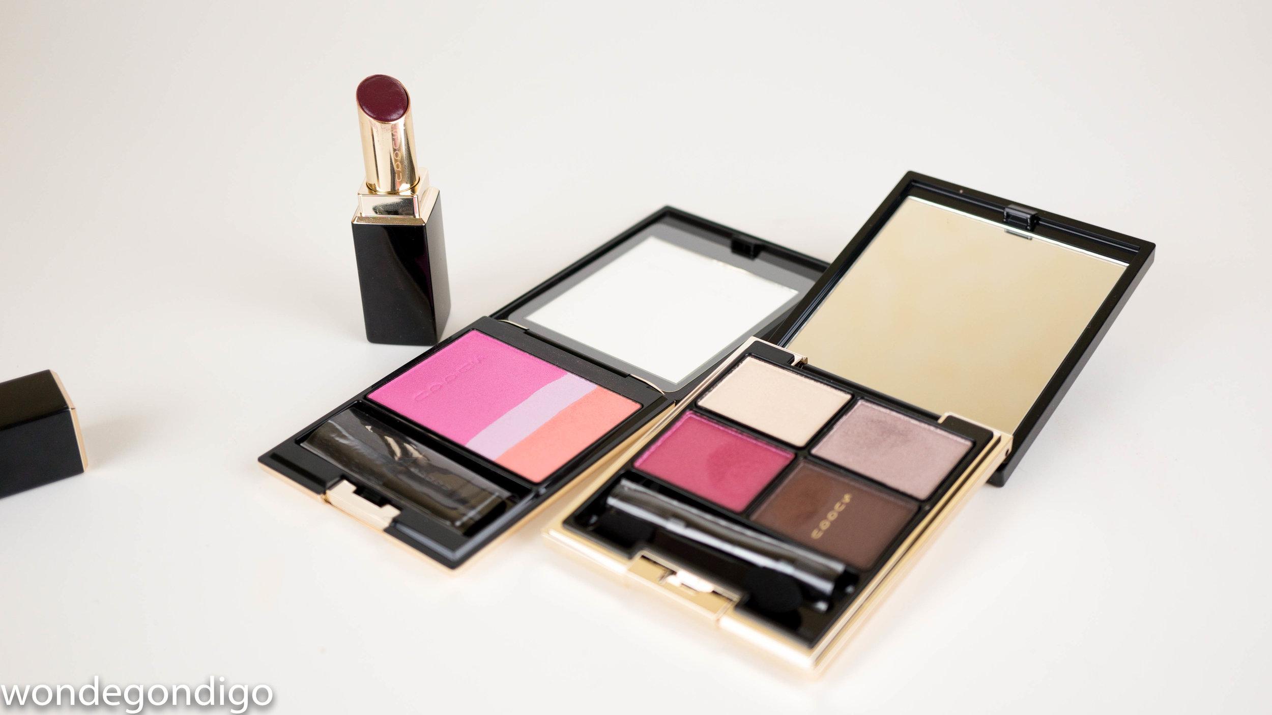 Designing Color Eyes 06 Yoibeni (pr sample), Pure Color Blush 104 Benizuki, Moisture Rich Lipstick 101 Ichijiku