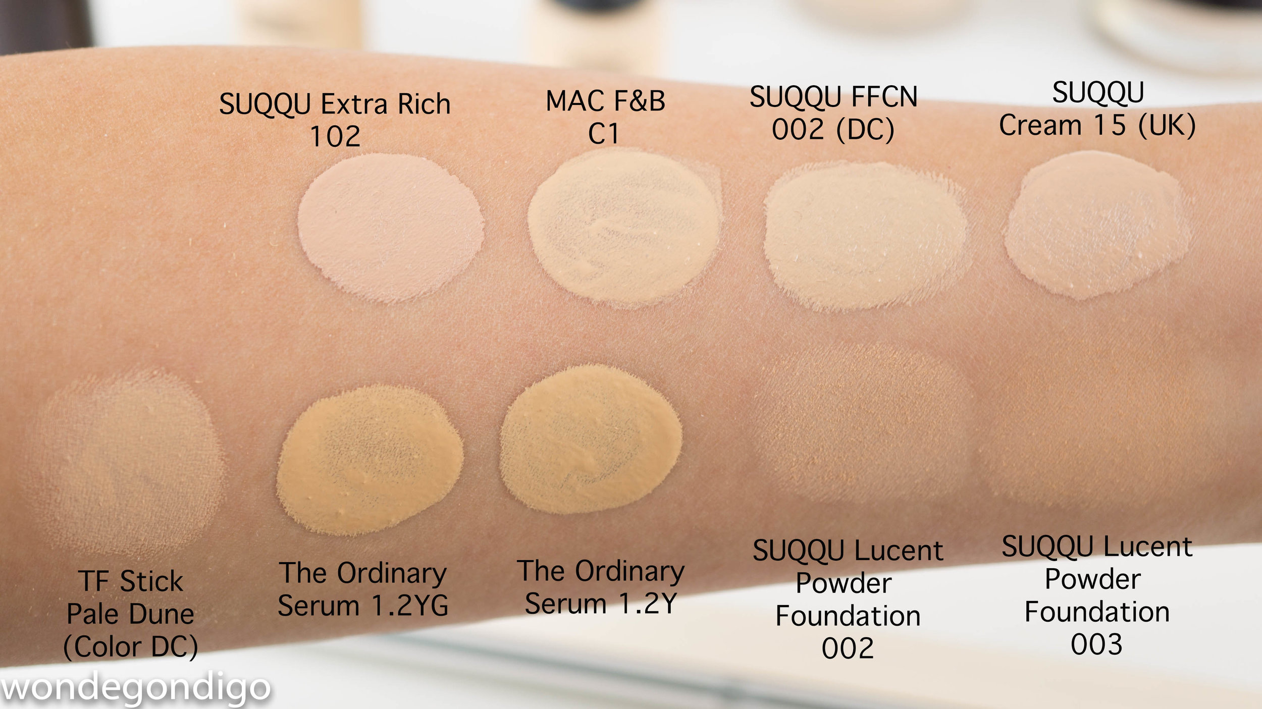 Some foundation shade comparisons