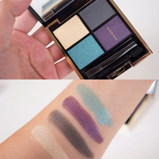 Swatch time!  SUQQU AW19 has a interesting mix of deeply rich and murky shades.  1- Designing Eye Color in 126 Aoryuusei.  2- Tone Touch Eyes (L to R) 02 Amaitoge, 03 Hiyatsuko, 05 Yawatsumugi, 07 Sakiiroka, 12 Akihotaru, and 13 Koushi. I hope you can see the textures well in this photo.  3- Color Ink Liquid Eyeliner in 105 Cat Pink.  4- Pure Color Blush in 115 Benitsurara. This color is stunning!  5- Water Color Lip Ink in 103 Sumikasane.  6- Moisture Rich Lipstick (L to R) in 12 Kinichou, 112 Fuyuhanabi, and 113 Kurourumi (this one I purchased) #suqqu #suqqu代購 #suqquuk #suqqumakeup #pr #makeupswatches #beauty #cosmetics #luxurybeauty #japanesecosmetics #suqquaw2019