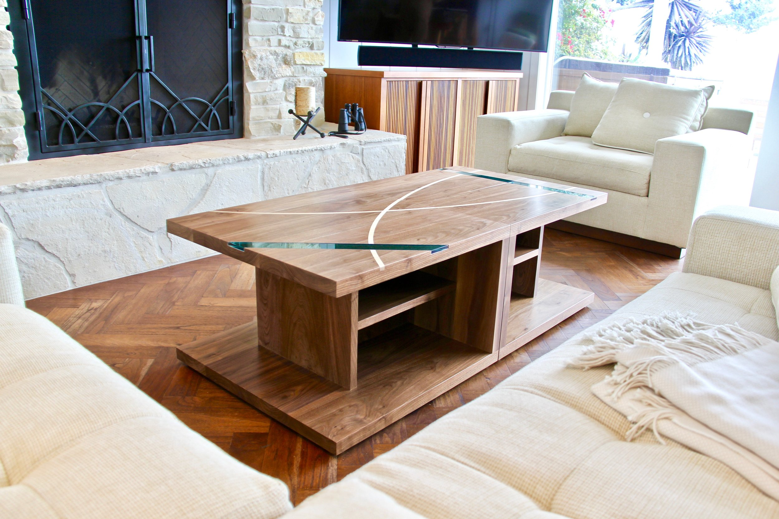 Triptych Tables - with Maple and Glass Inlays
