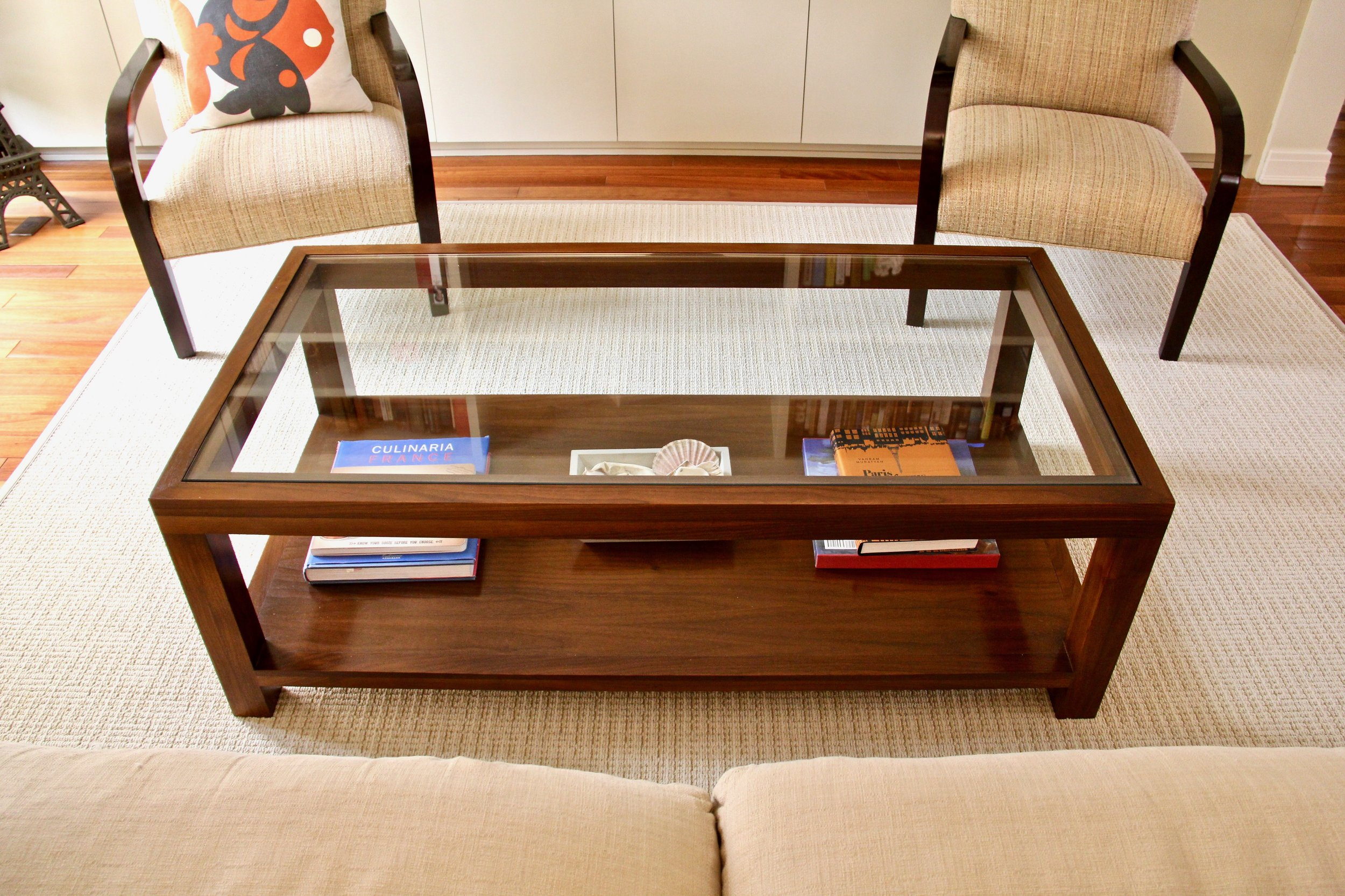 Walnut Cocktail Table - with Glass and Shelf