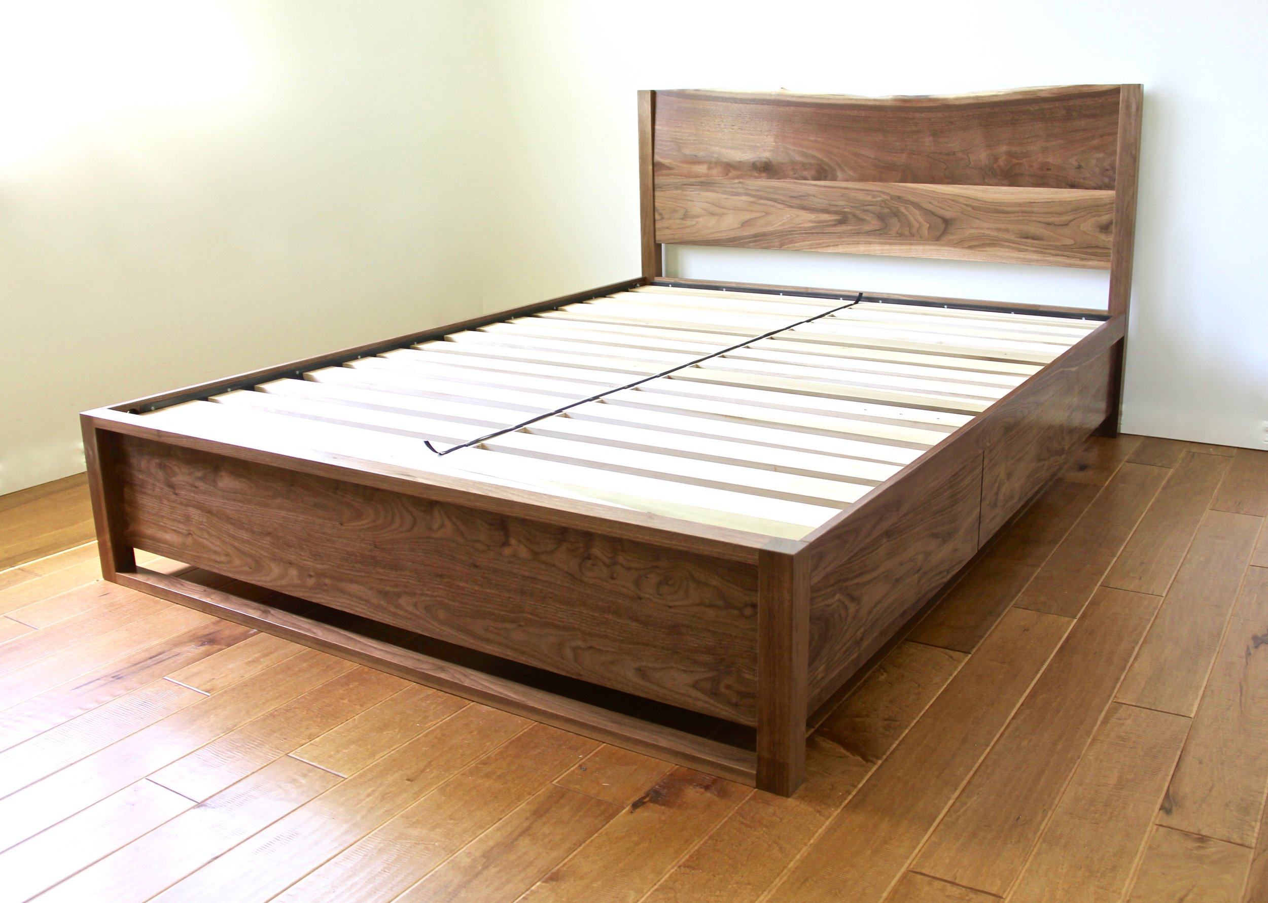 Custom Live-Edge Black Walnut Bed with Four Drawers