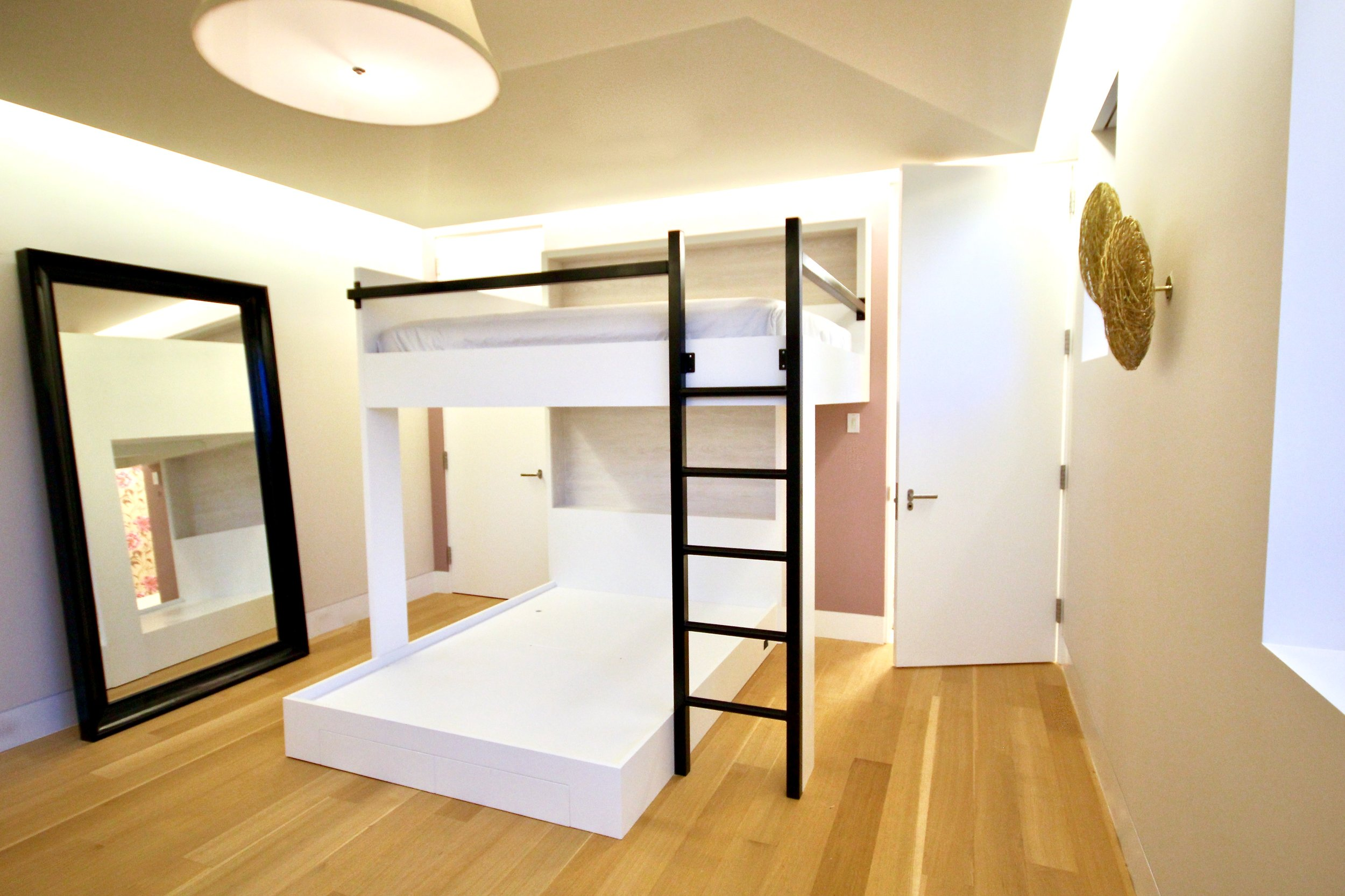 queens squared Poplar bunks - with Steel Ladder and Wall Mount