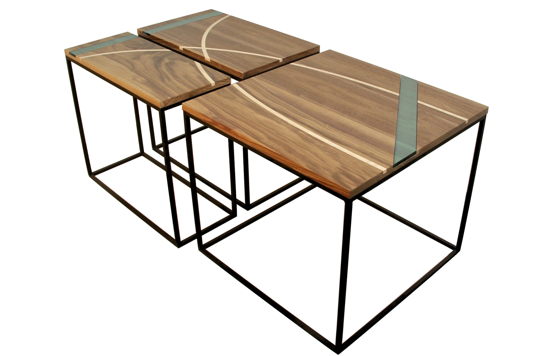 Triptych tables in steel - Black Walnut with Maple and Glass Inlays