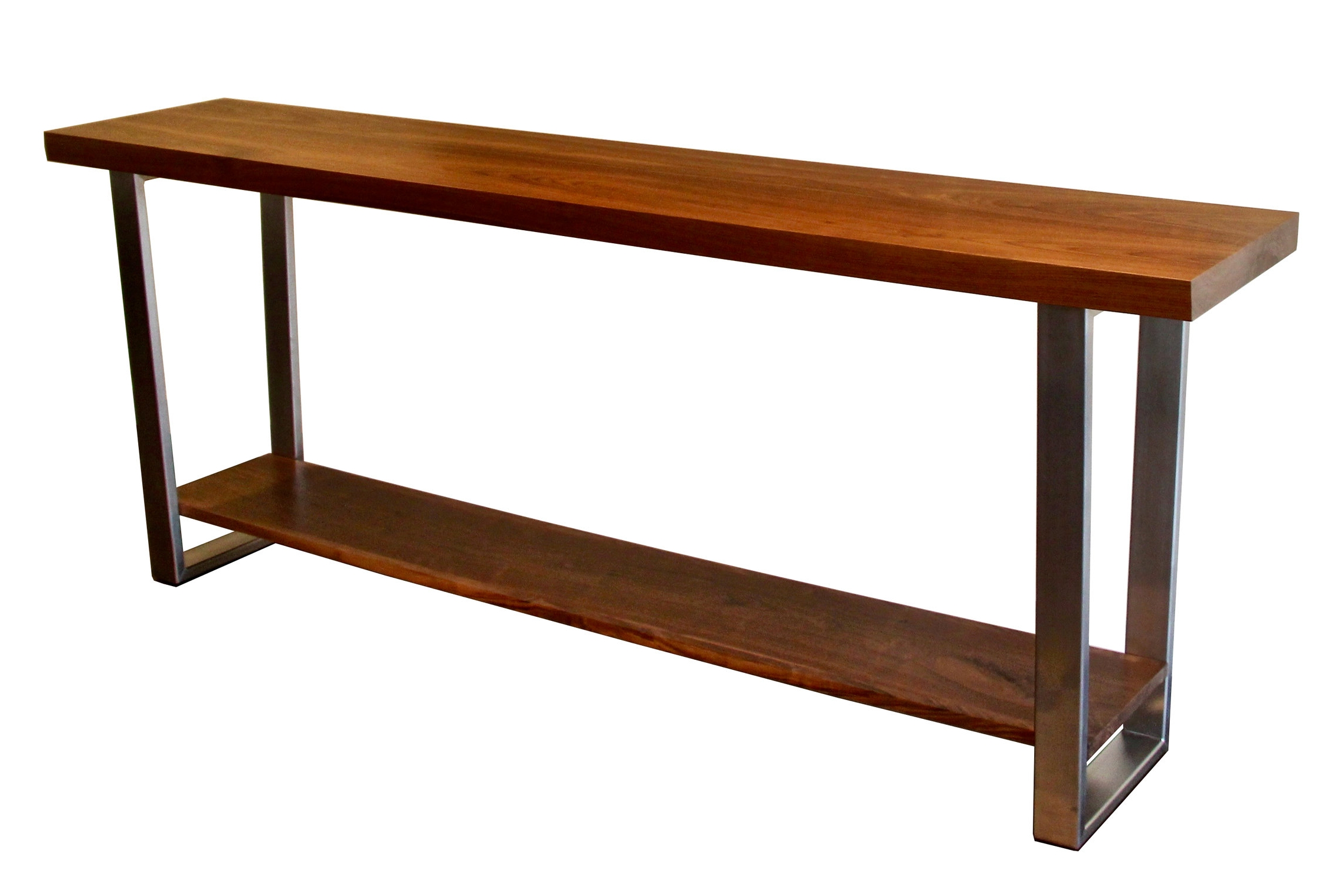 sculpted walnut console - with Brushed Stainless Base