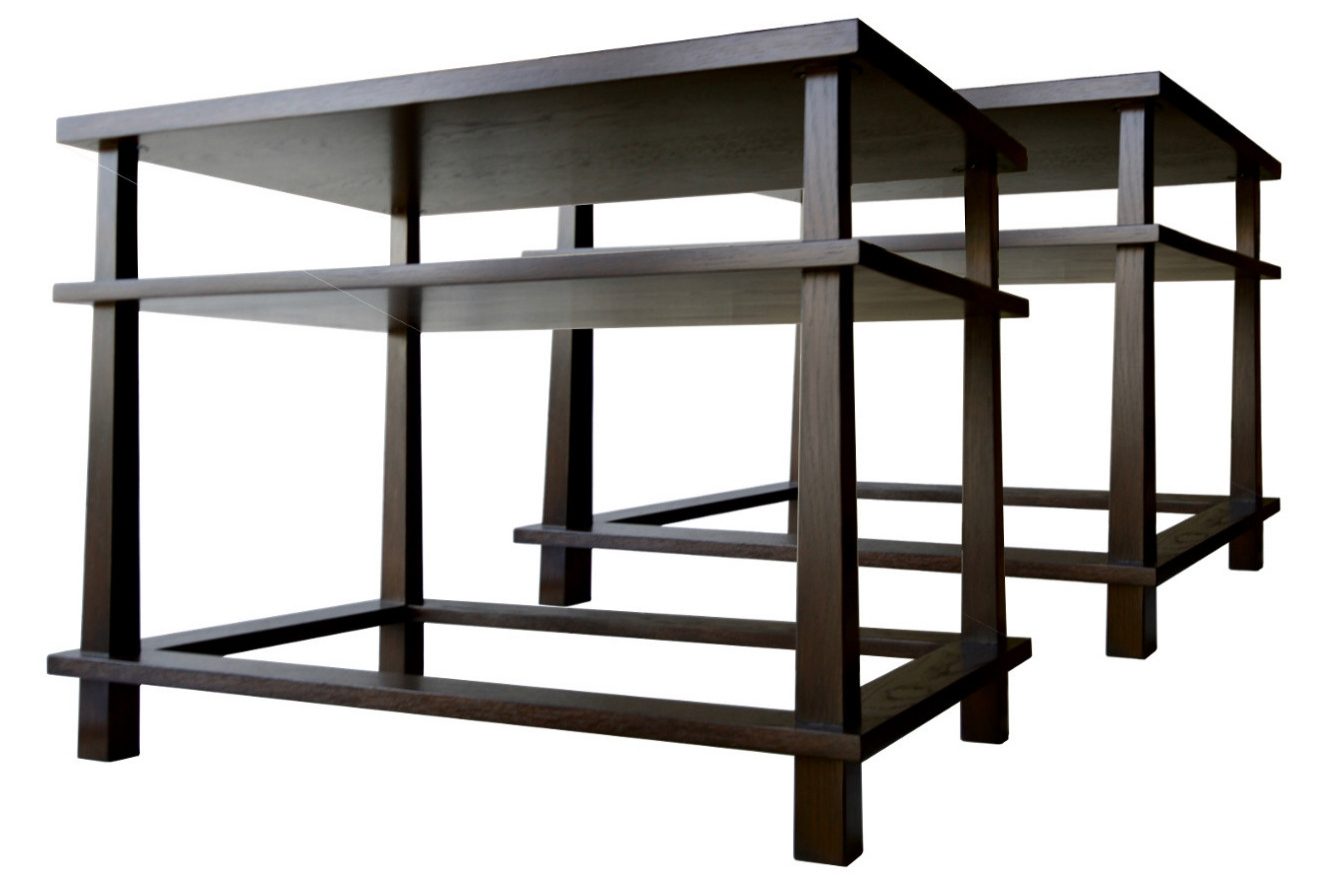 Charcoal oak end tables - with Tapered Legs and Shelves
