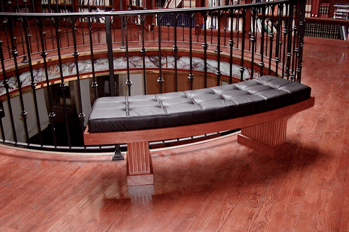 arc library bench - in African Mahogany