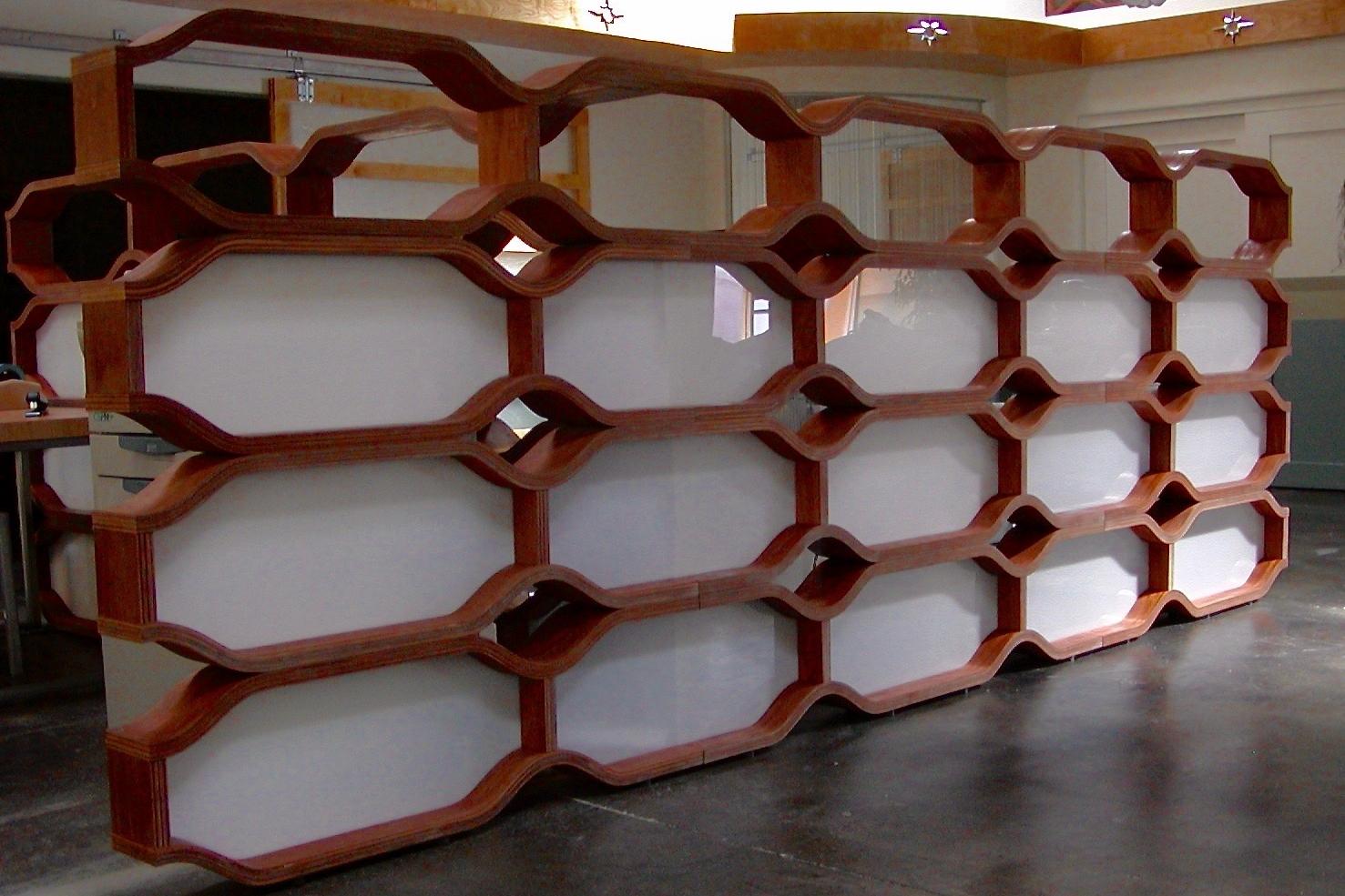 Bentwood office walls - bending Poplar and plexiglass