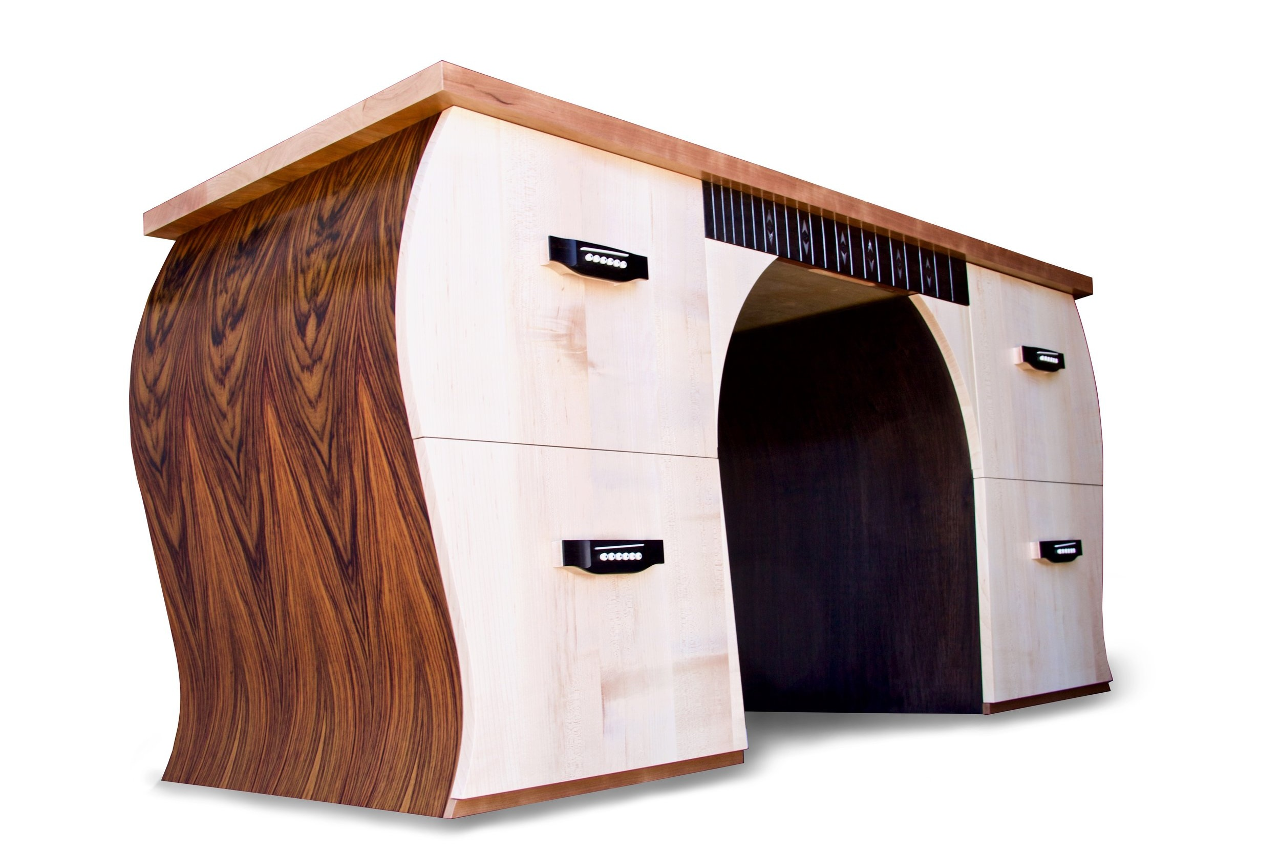 super-custom guitar desk - with full-scale guitar inlaid into top