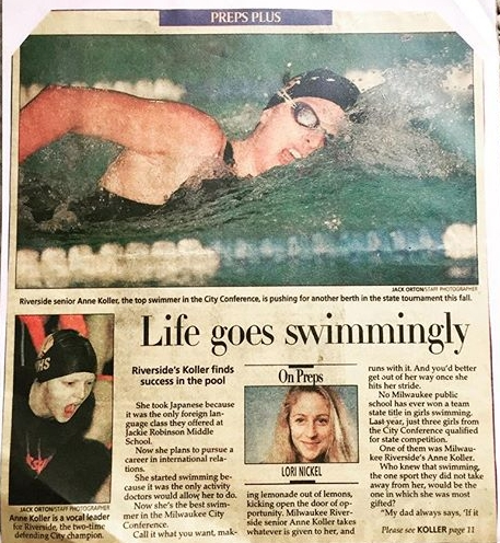 IN THE NEWS:  My story of how swimming helped heal my scholiosis was front page of the Sports section of the Milwaukee Journal Sentinel in 1998.