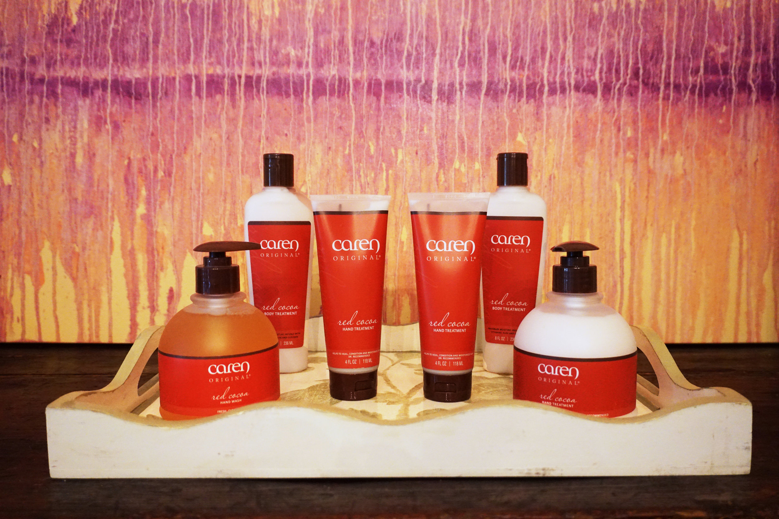 Caren Lotions   These skin care products restore, rejuvenate and replenish all skin types from head to toe. Caren products are also made in the USA and donate to help support organizations in the fight against Breast Cancer.