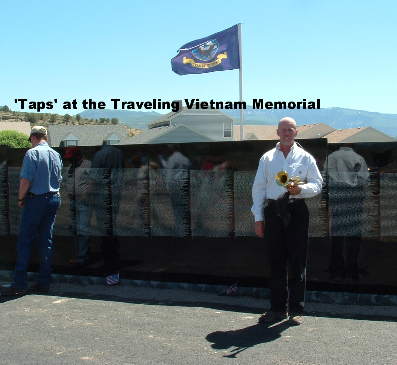 Blowing TAPS at the traveling Vietnam Memorial Wall, Rifle Colorado.jpg
