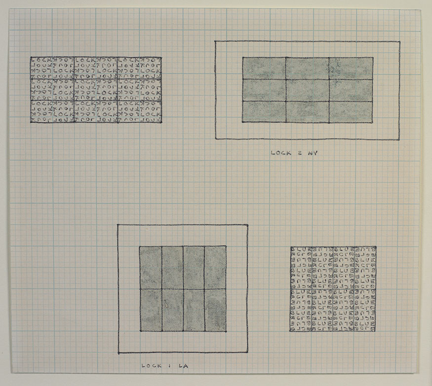 Carl Andre, Blue Lock, 1966 Colored ink and felt-tip pen on graph paper, 8 3/4 x 9 3/4 inches (22.2 x 24.8 cm) Gift of Sally and Wynn Kramarsky, The Museum of Modern Art, New York Art © Carl Andre/Licensed by VAGA, New York, NY via http://notations.aboutdrawing.org/carl-andre/