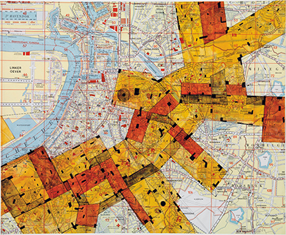 New Babylon-Antwerp , 1963, ink on city map, 52 × 64 cm. Via Frieze ( click here  to go to article)