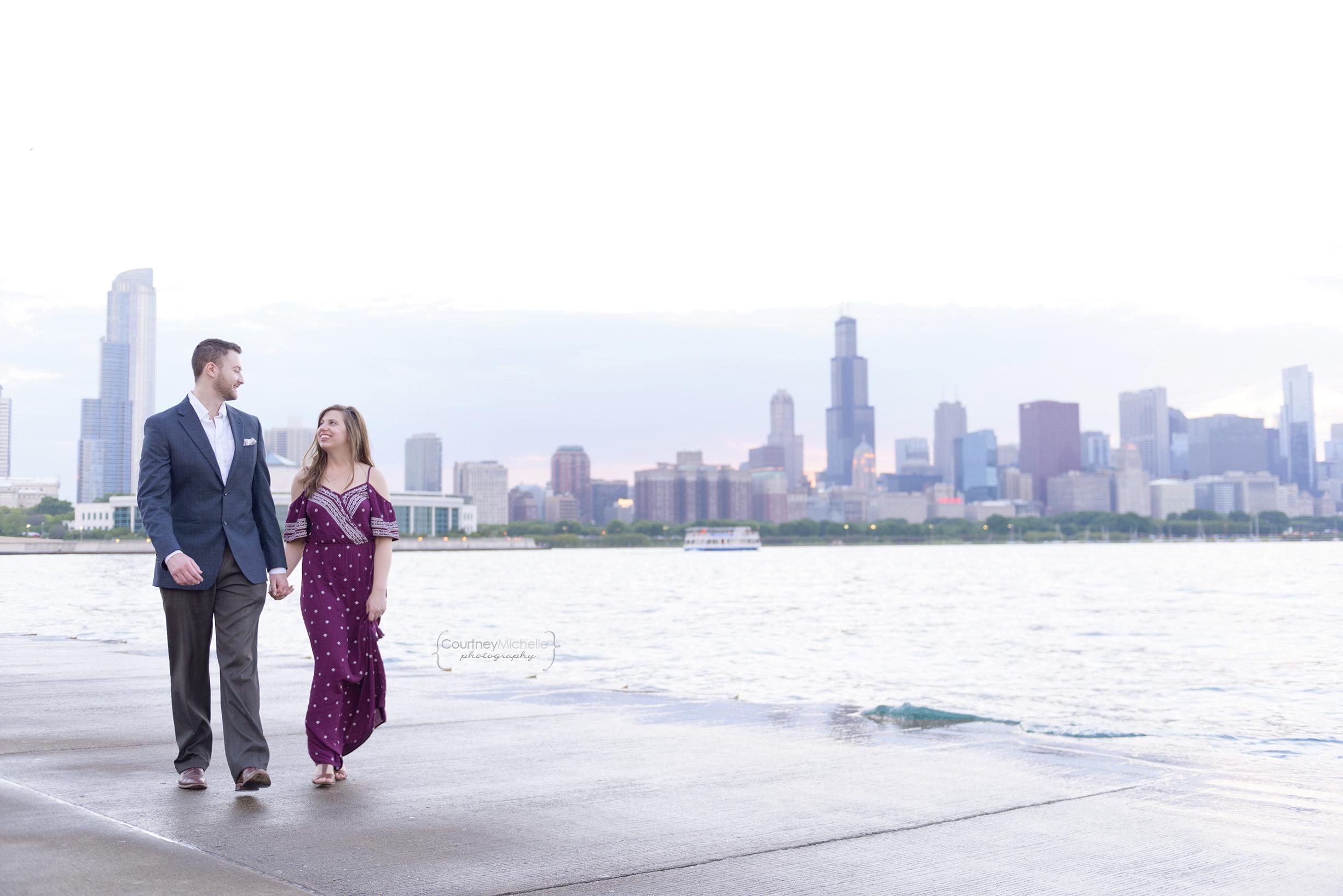 chicago-engagement-skyline-at-sunset-walking-adler-planetarium-engagement-photography-by-courtney-laper.jpg