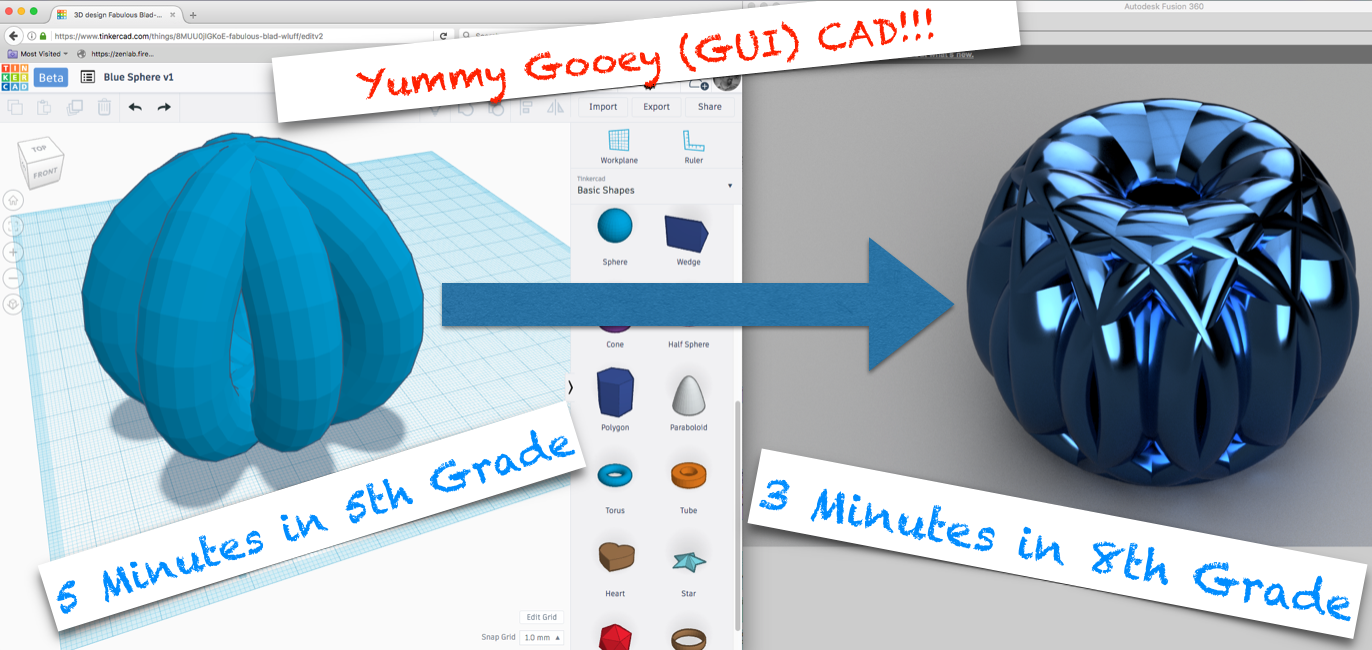 Students with some exposure to TinkerCAD pick up professional CAD tools like Fusion 360 surprisingly quickly. These tools are free and accessible from home or school computers.