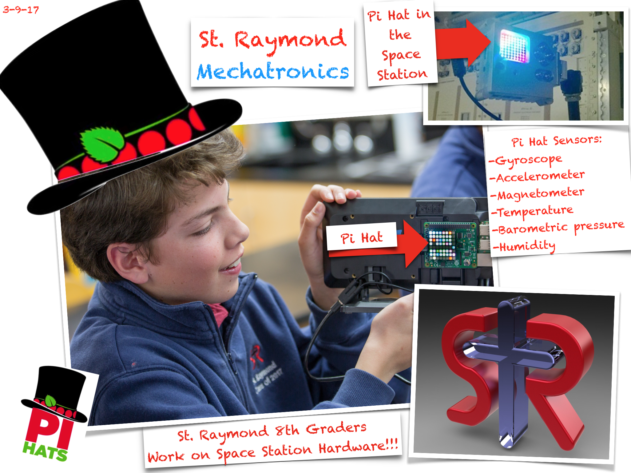The Pi Hat has six sensors: Gyroscope, Accelerometer, Temperature, Barometer, and Humidity. It also has outputs with a 8x8 LED matrix and inputs with a 5 position joystick in addition to full GPIO pin access.