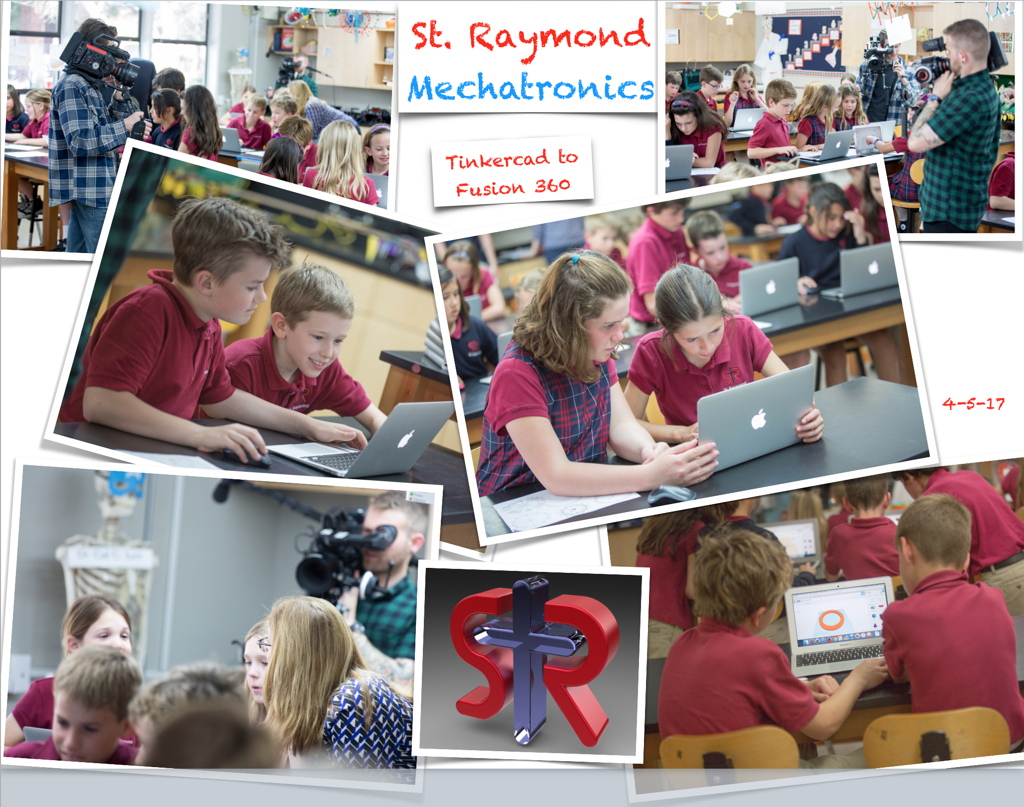 Above: the 4th grade class is filmed using Tinkercad to study degrees in a circle