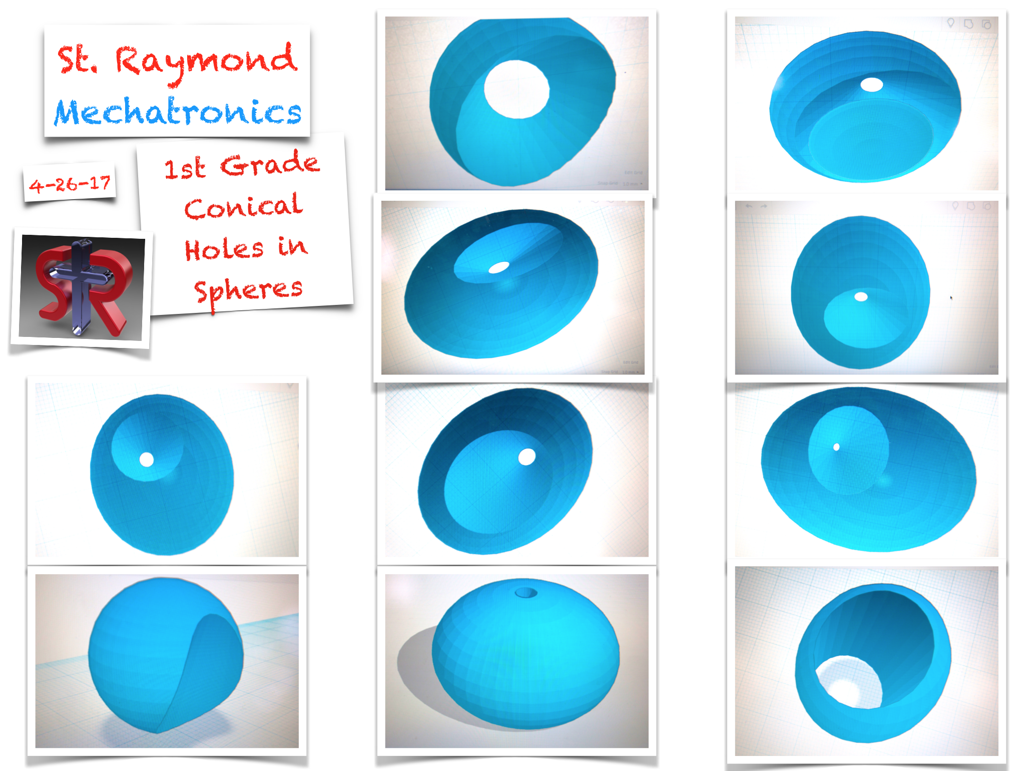 The 1st grade class produced the digital models (above) of Conical Holes in Spherical Volumes