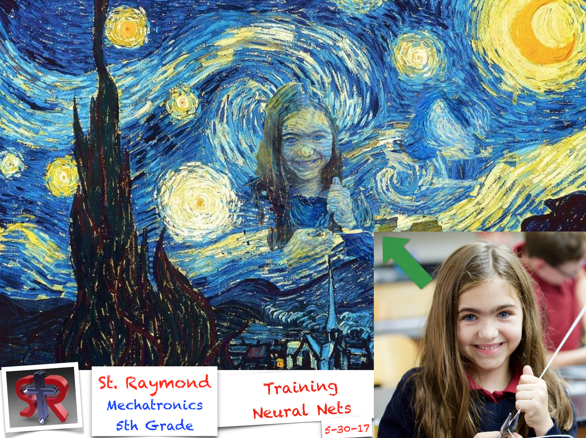 One of the 5th grade students leaps into Van Gough's starry night with the help of a Neural Net