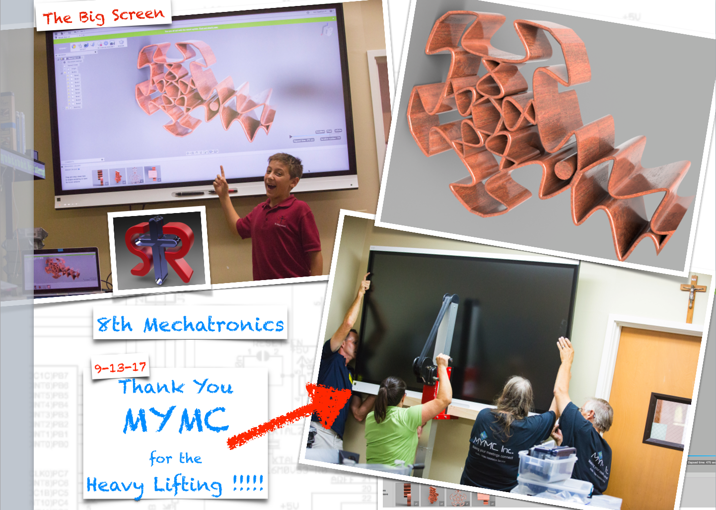 Above: A 7th grade student shares a rendering on the big screen (left). Thank you to MYMC Inc. for pushing the install process so fast so we could use the screens immediately (right).