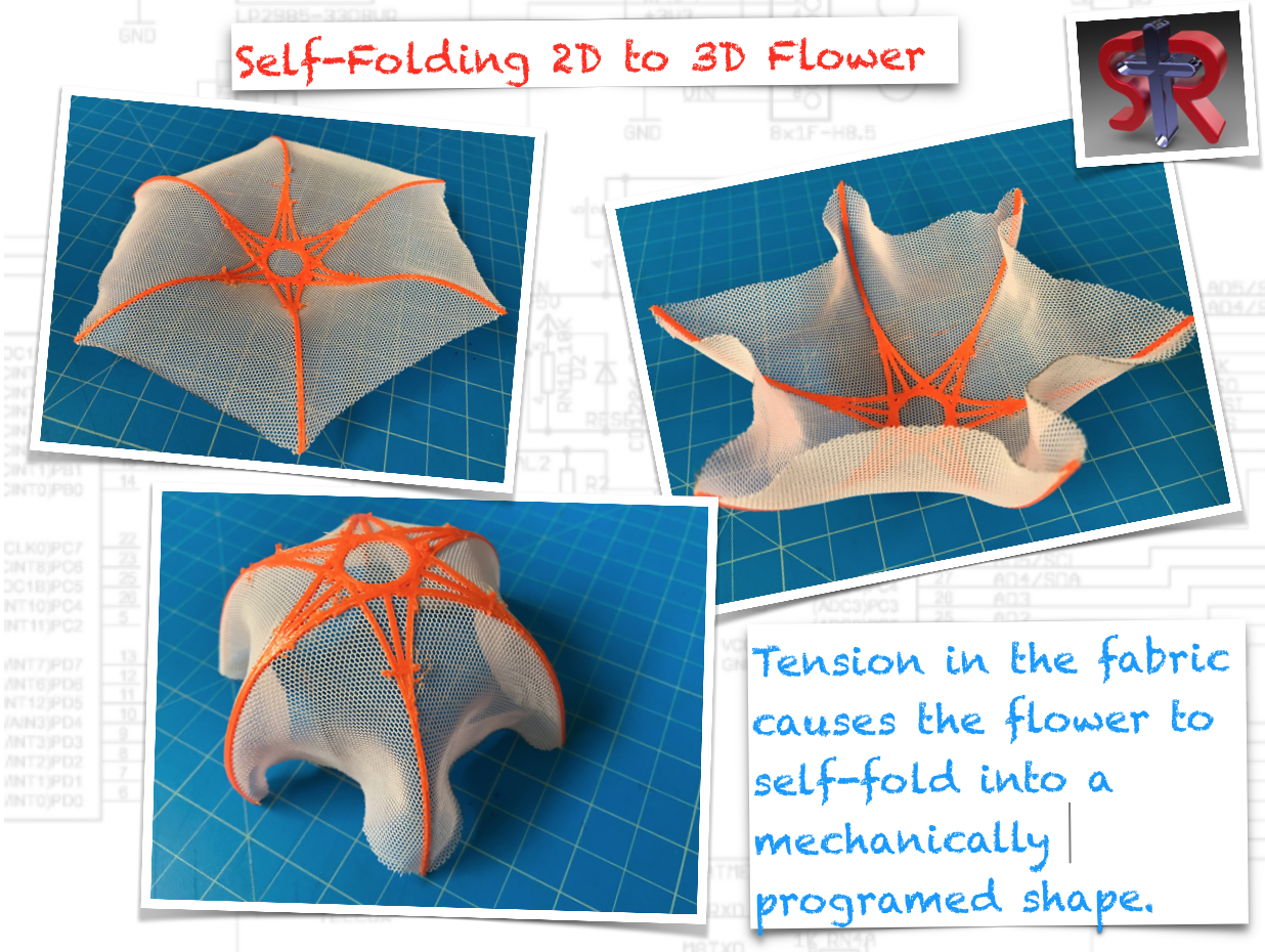 Above: The flower was printed flat and folds into shape because of pre-tension in the X and Y directions in the fabric.