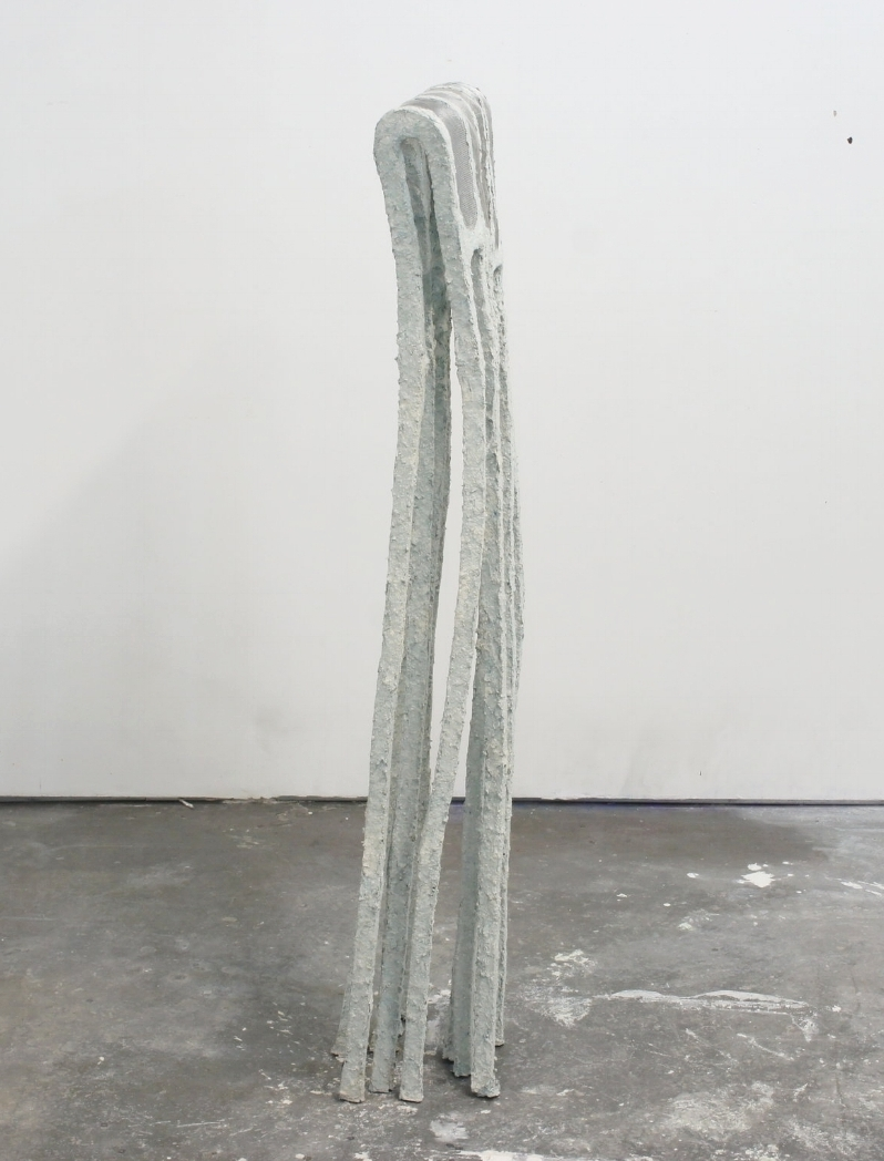 Untitled (Lean), 2015  58 x 14 x 5 inches  Paper clay, foam, and wire mesh