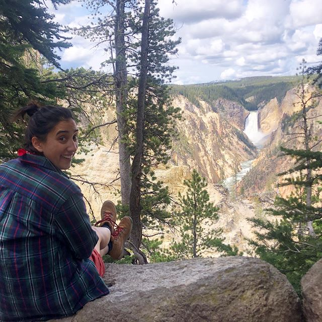*hike to the waterfall* classic CAMP activity #happycamperspodcast #yellowstone #camplife #imisssummercamp #camp #dogochasingwaterfalls