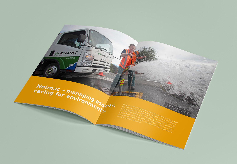 Nelmac Company Profile Spread Design