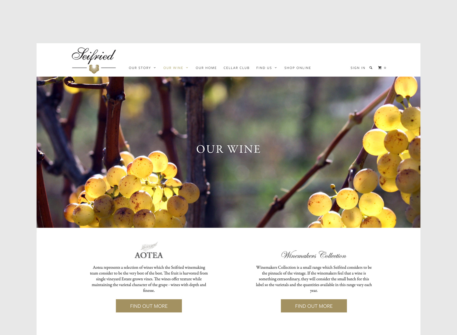 Seifried Website Our Wine Page Design