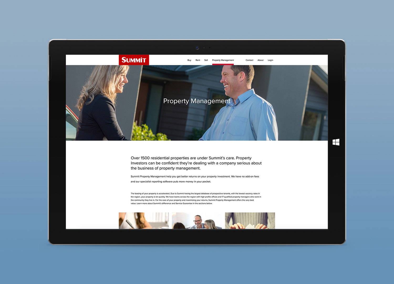 Summit Website Property Management Page Design