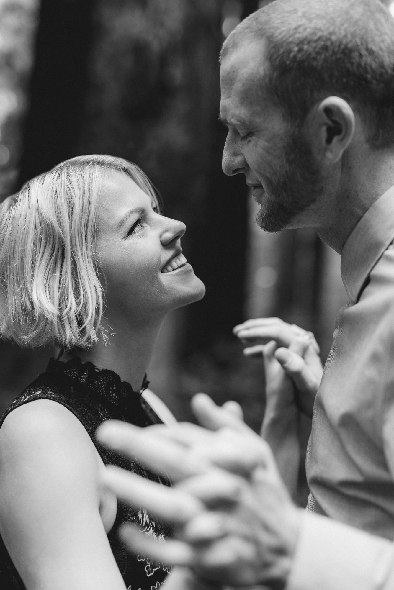 Romantic Engagement Portraits in San Francisco woodland Area