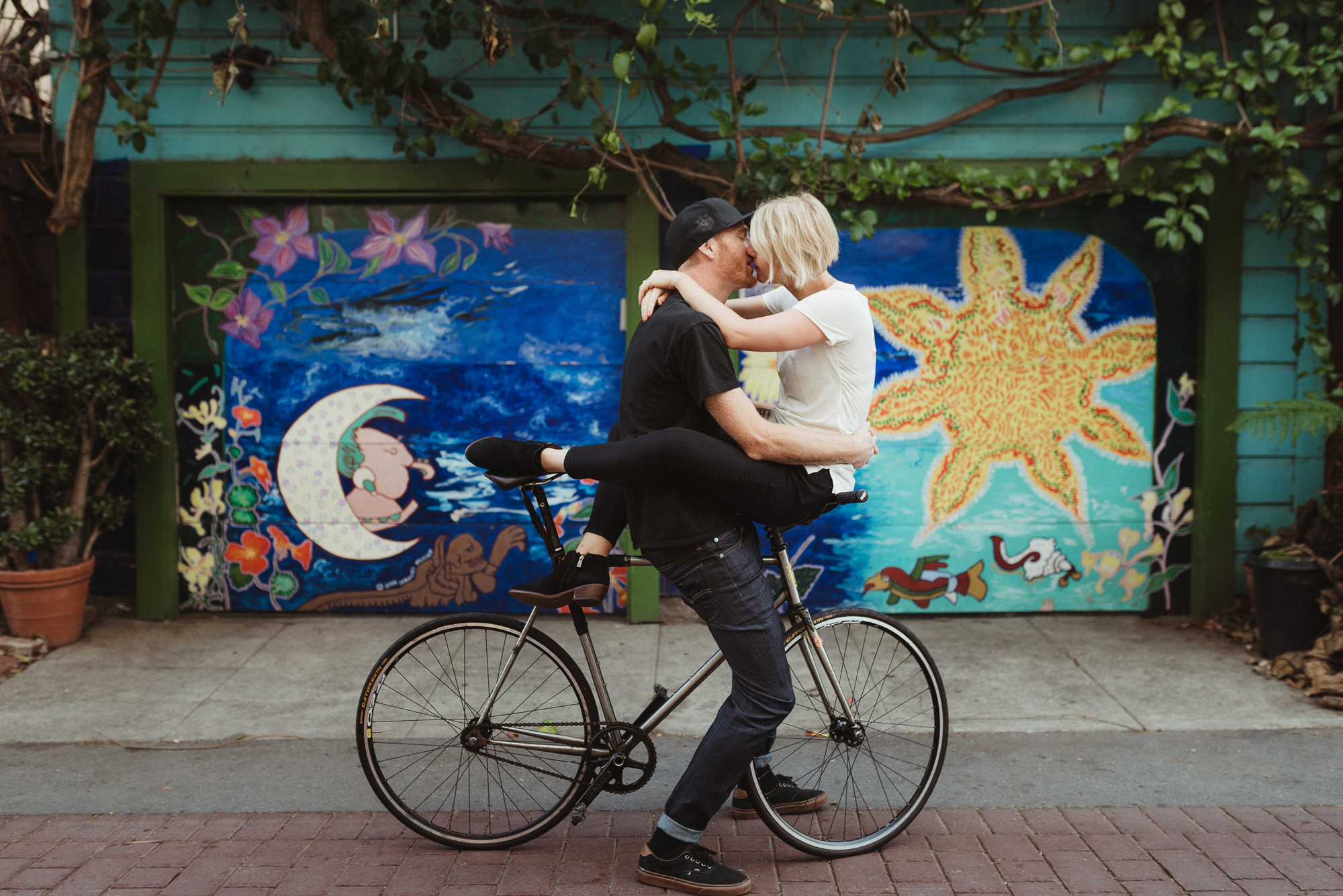 Portrait Photography on bikes for Engagement Session in San Fran