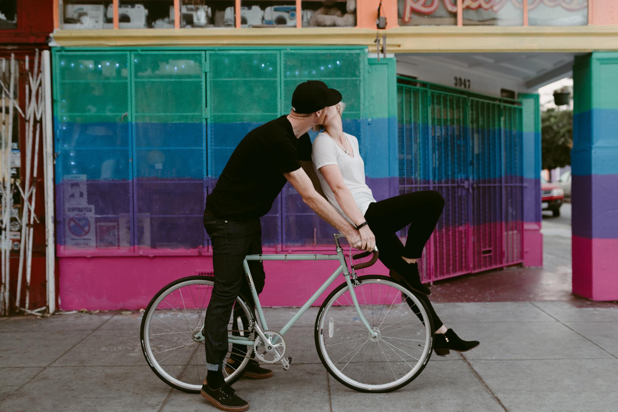Cute Engagement Portraits on Bikes in San Francisco California