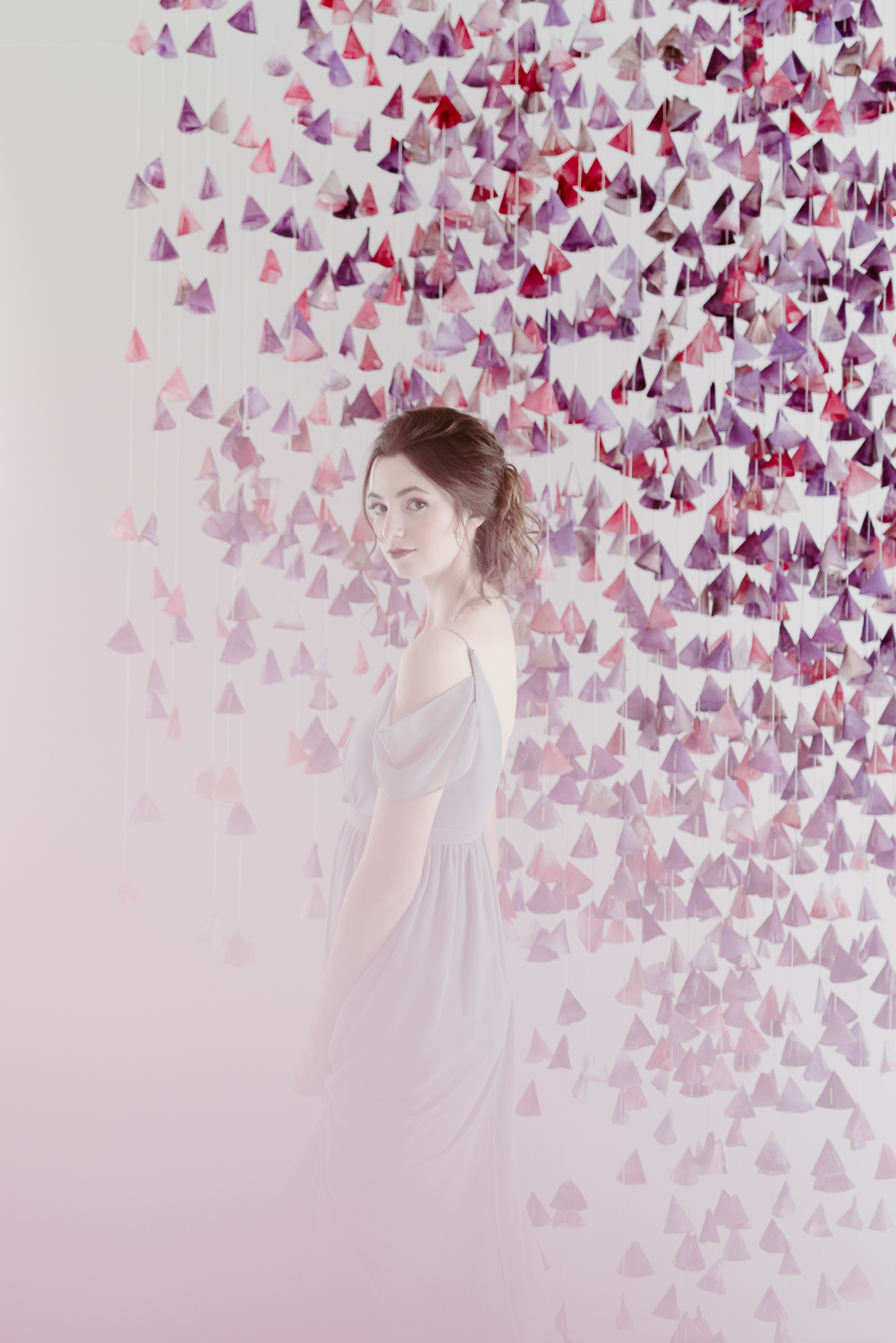 Pretty Senior Portrait with Pink Backdrop and Floaty Dress