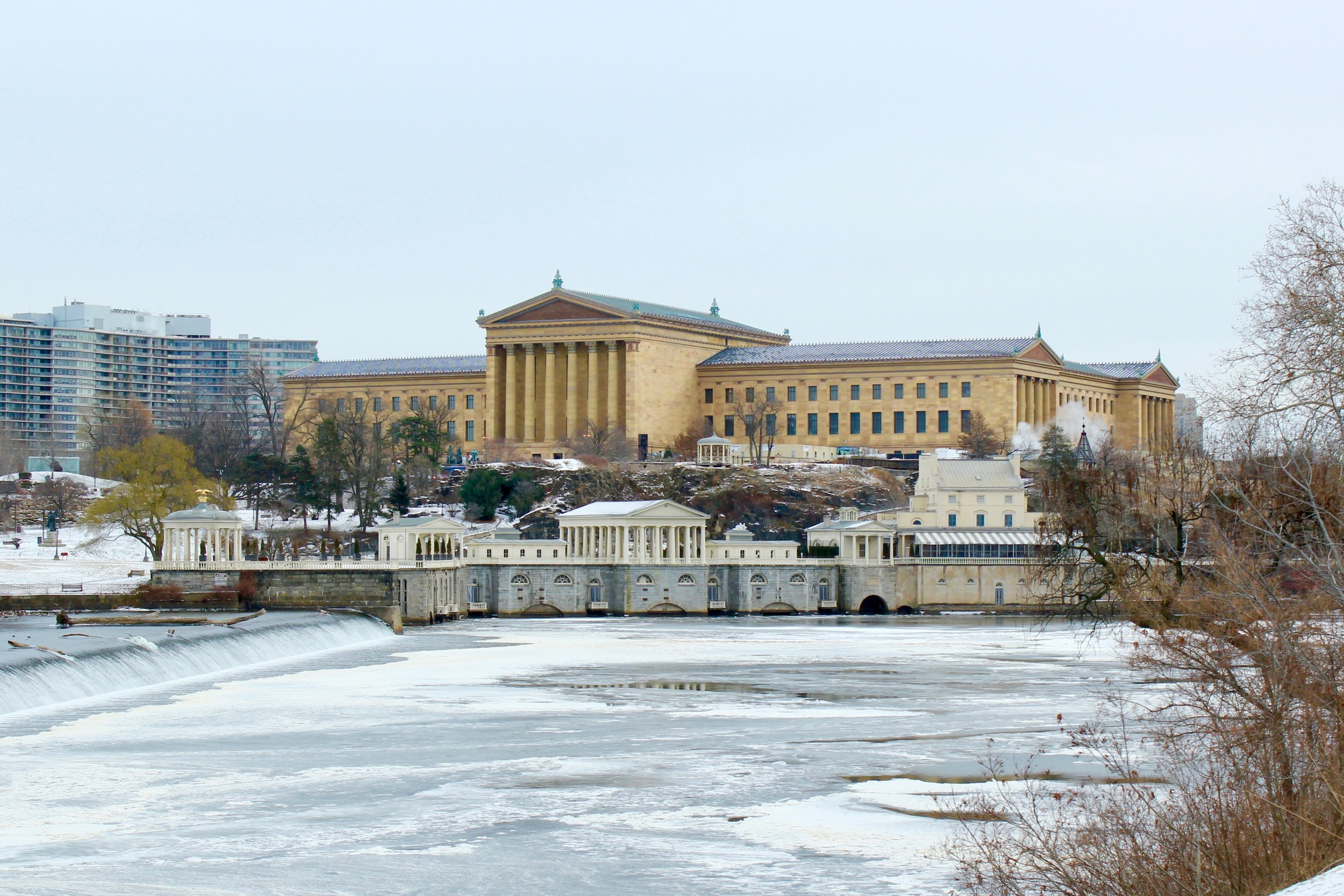 We weren't allowed to take pictures at the plant for security reasons, so here's a photo of the Water Works on a very cold day. This used to be where Philly pumped drinking water from the Schuylkill River.