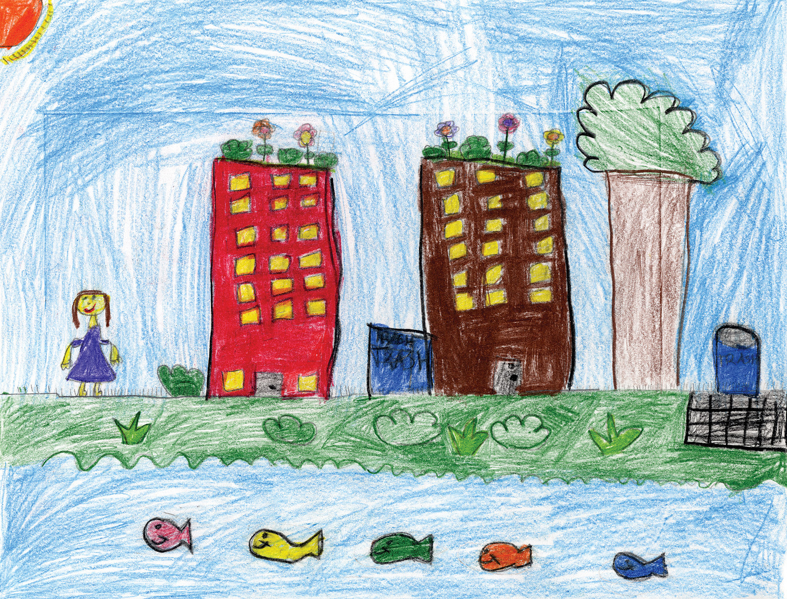 This beautiful piece of art shows how interconnected our city and rivers are. It was drawn for the Green City, Clean Waters Art Contest by Olivia Forti, and found on Flickr Commons. Thank you for the great illustration!