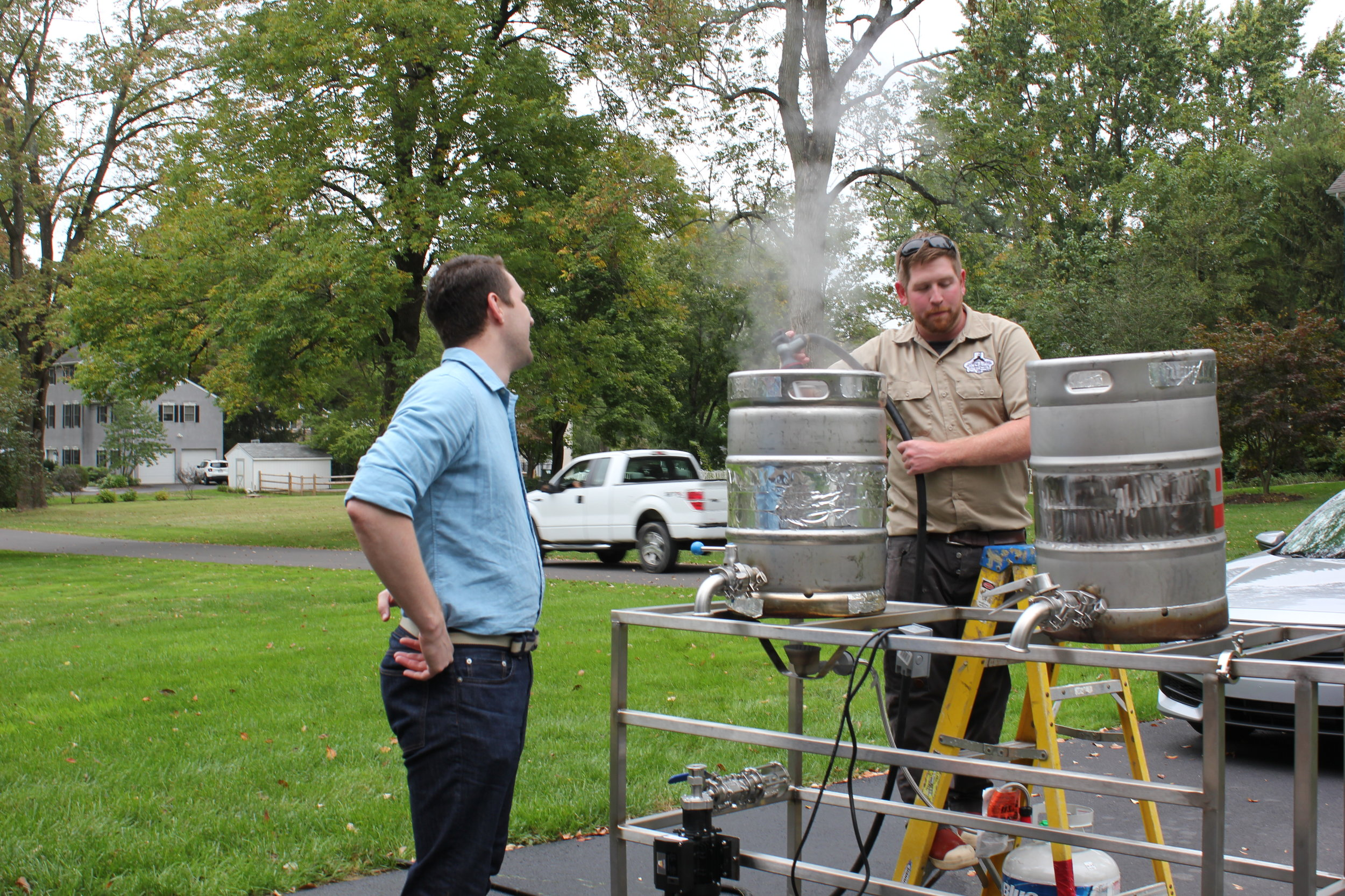 Bill and Kyle at our first brew day. October 8, 2016.