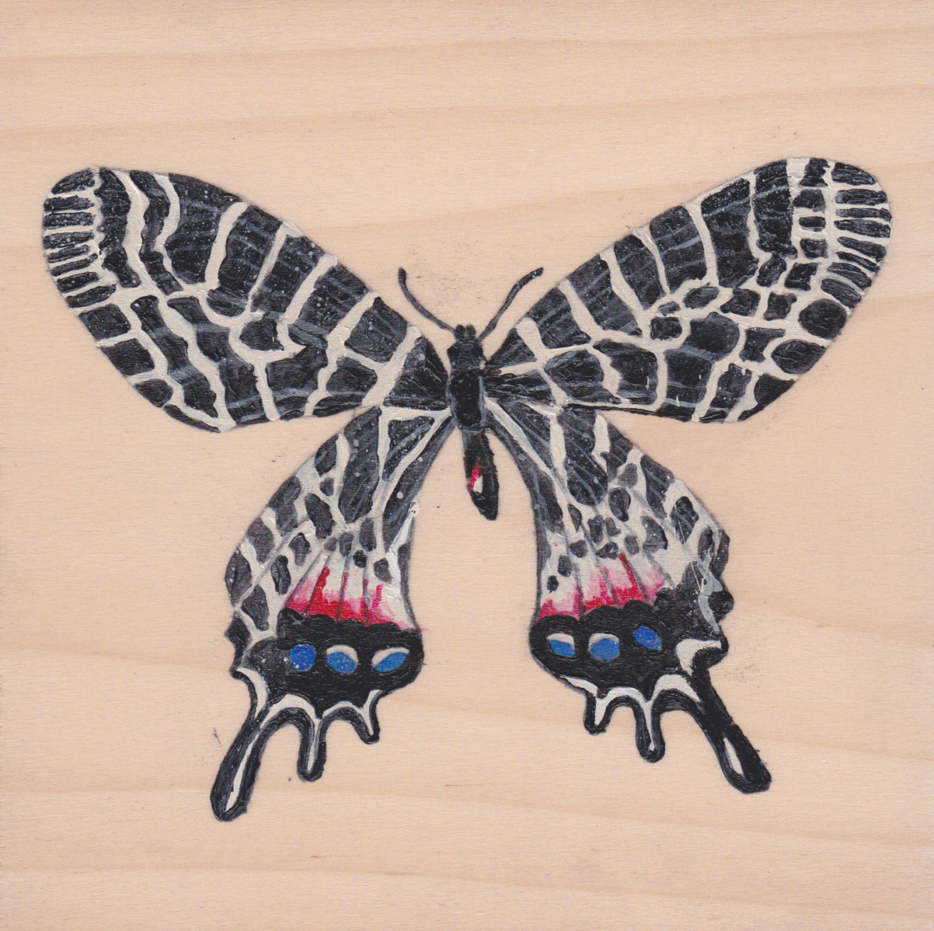 Bhutanitis Ludlowi Butterfly_Painting on wood_01.jpg
