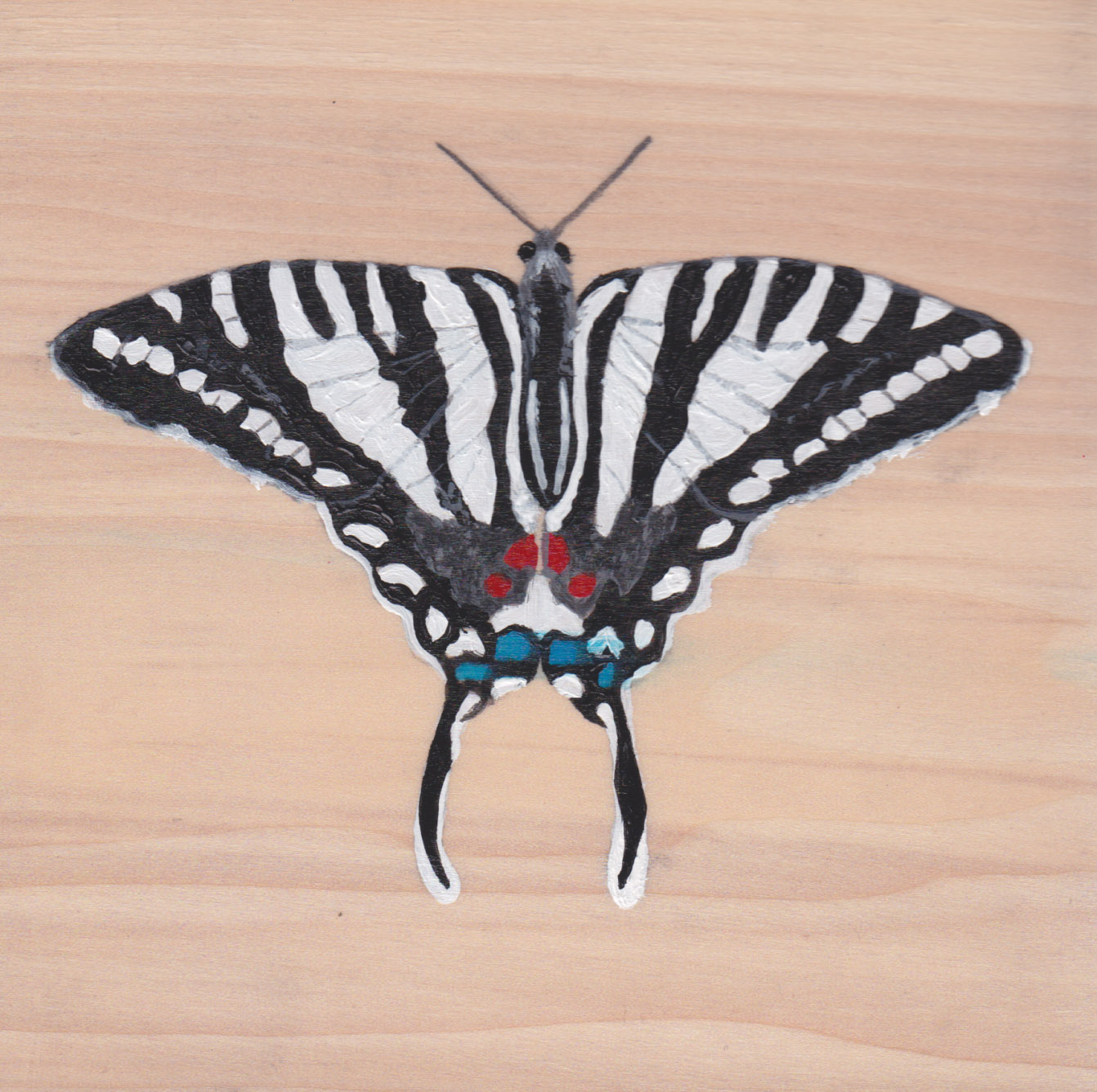 Protographium Marcellus Butterfly_Painting on wood_01.jpg