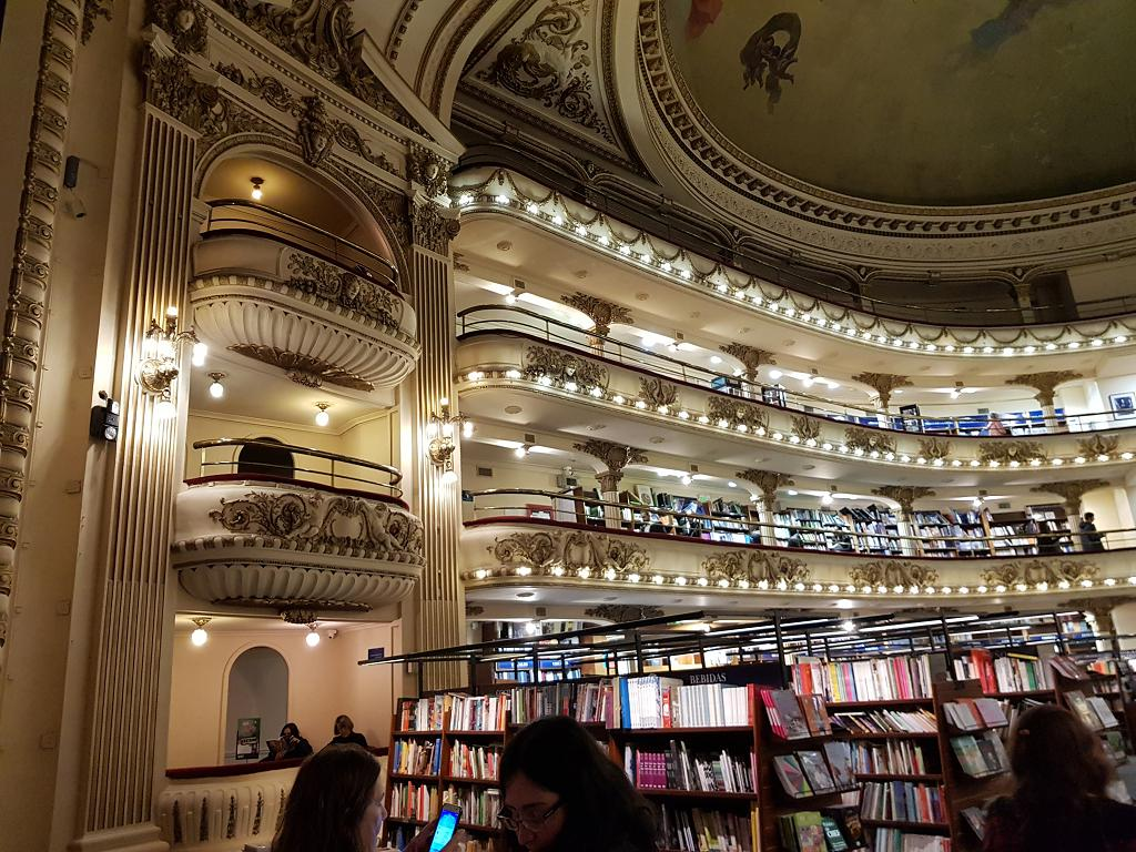 View of El Ateneo from the café on the stage