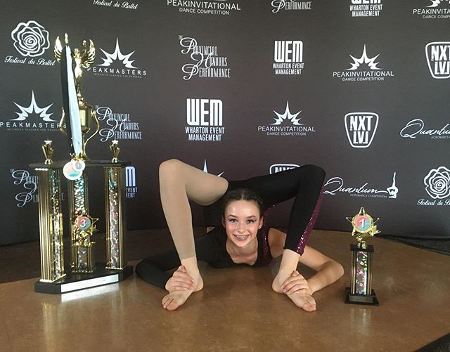 Peak Invitational is done! A huge congratulations to Anna Hechenberger who won 1st place  top ten high score in Level 2 solos for her Acro solo. She then competed in the Peak Challenge against all Level 1 and 2 highest scoring routines and won 3rd place overall!!! Amazing Anna!! Everyone did great this week and Congratulations to all of our dancers that received Spirit Awards.  Well done 💚