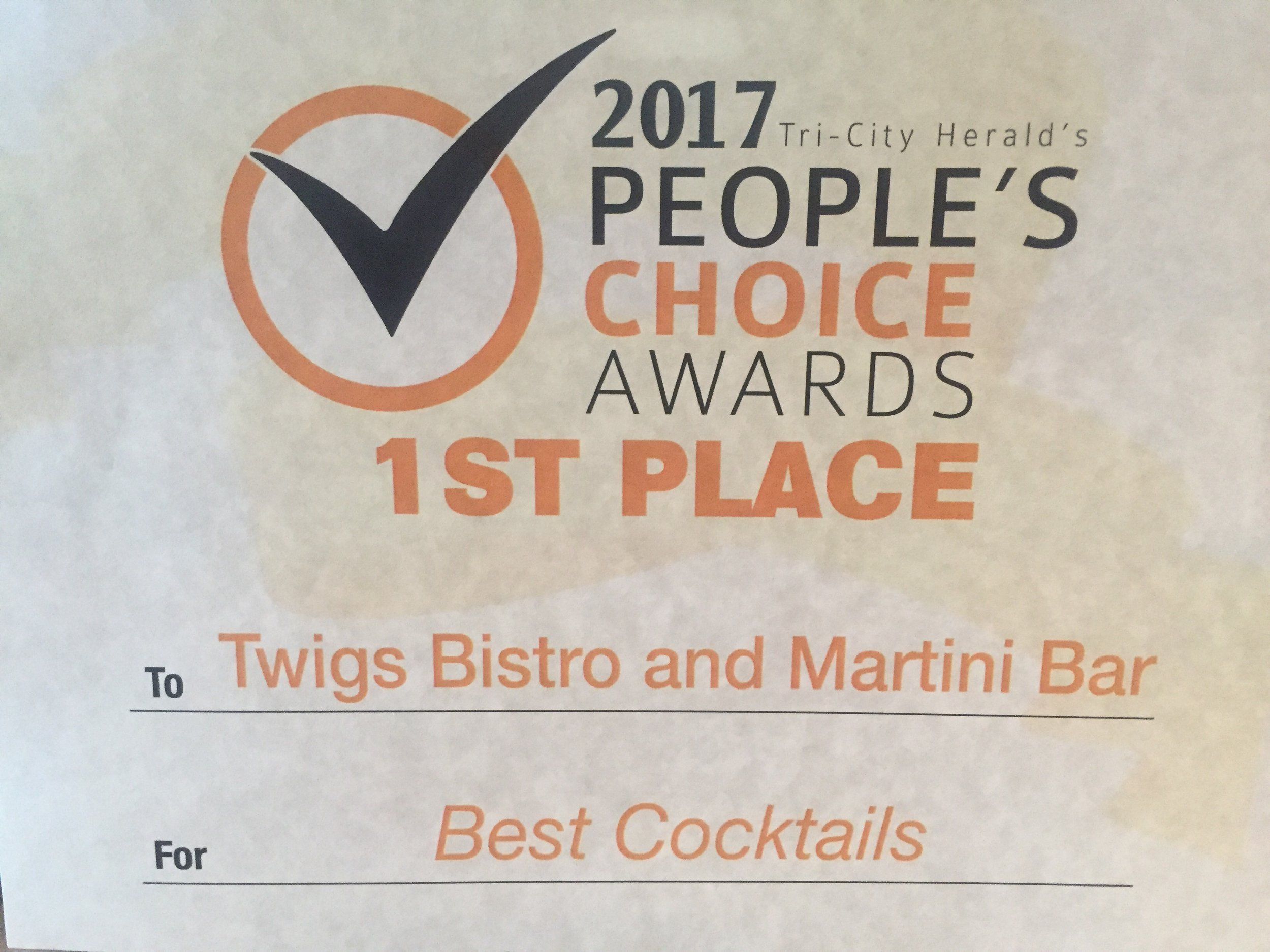 Twigs at Columbia Center Mall is proud to be voted Best Cocktails by the TriCity Herald readers for 2017. Read the full article here:  http://www.tri-cityherald.com/customer-service/faq/readers-choice/article151147197.html