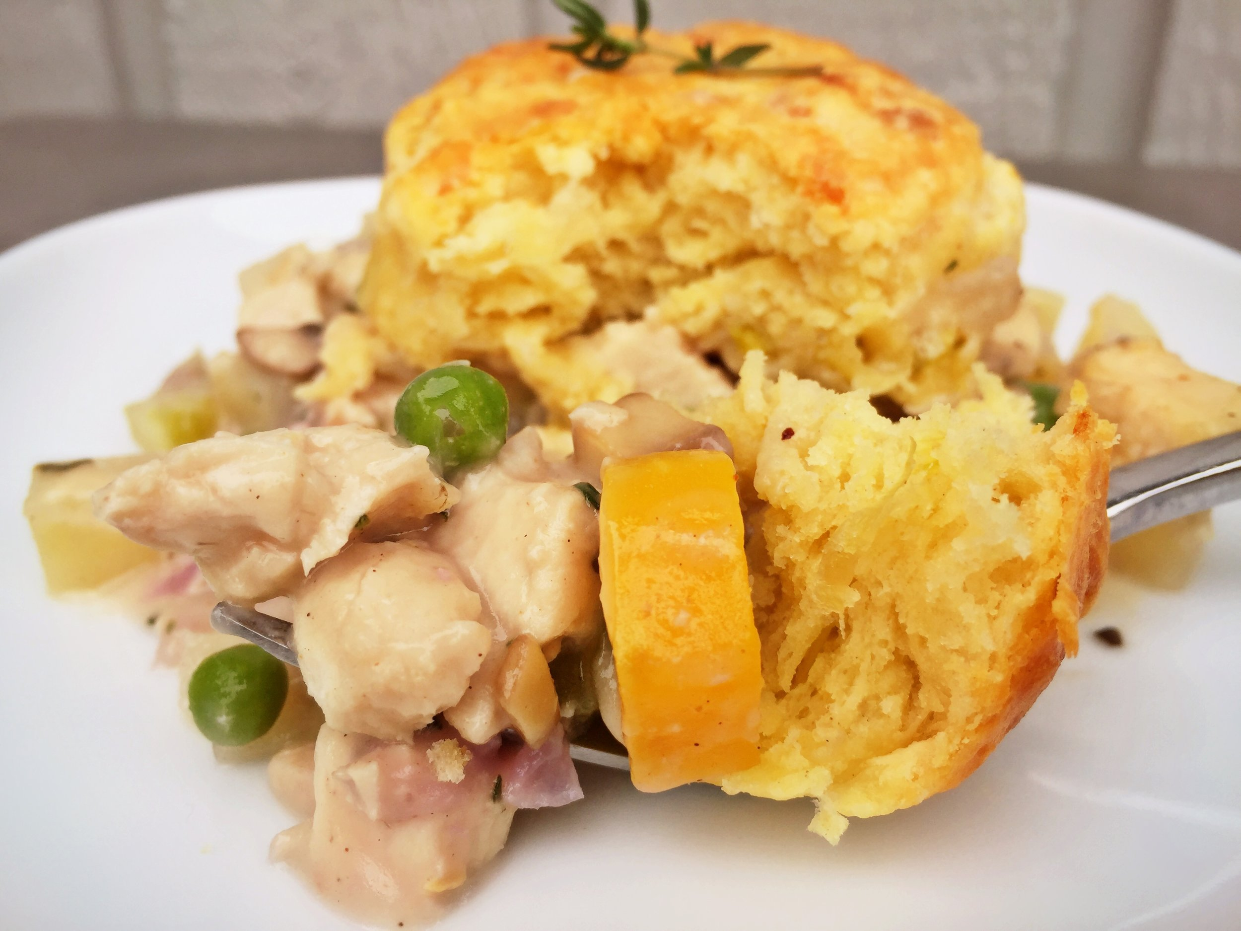 Chicken Pot Pie with Gruyere & Leek Buttermilk Biscuit Crust