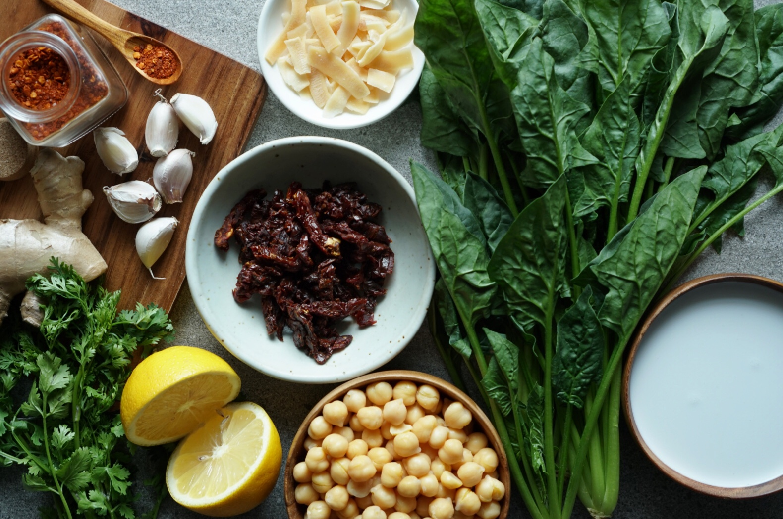 Coconut Spinach Braised Chickpeas