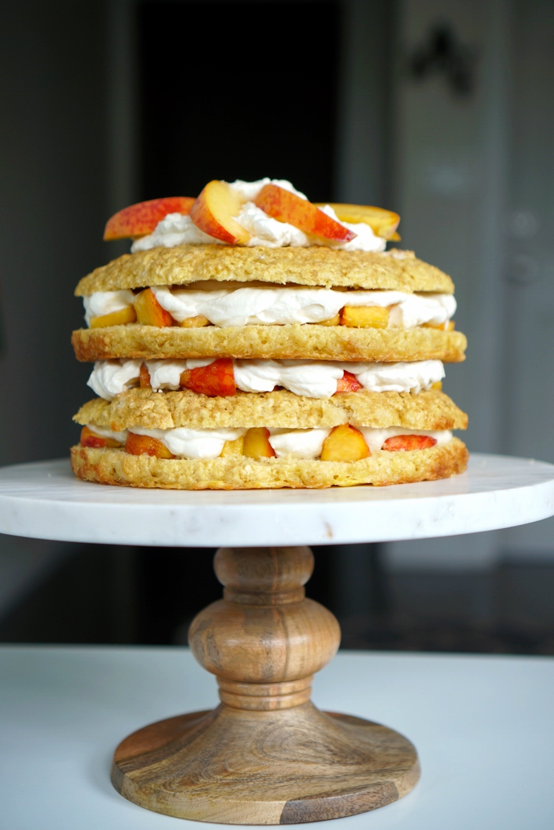 Peach & Bourbon Shortcake Cake