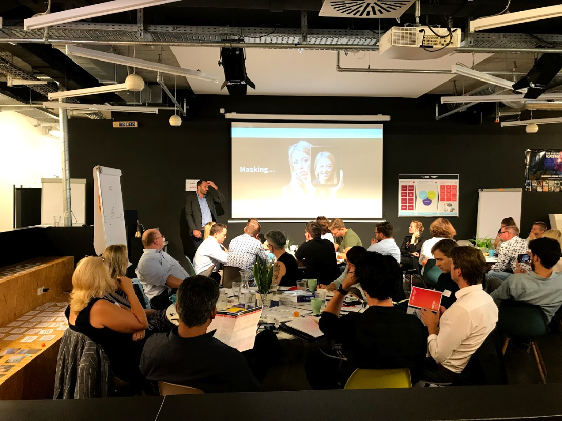 Munich, Germany   Misha (our resident neuroscientist) explains the impact of 'masking' (not expressing how we feel) on our ability to think. He's speaking to leading automotive and aviation execs at the Future Academy in Munich.  September 2019