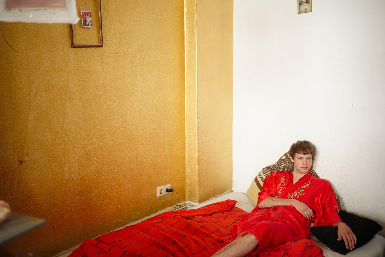 Per in his bed, Berlin, 2016