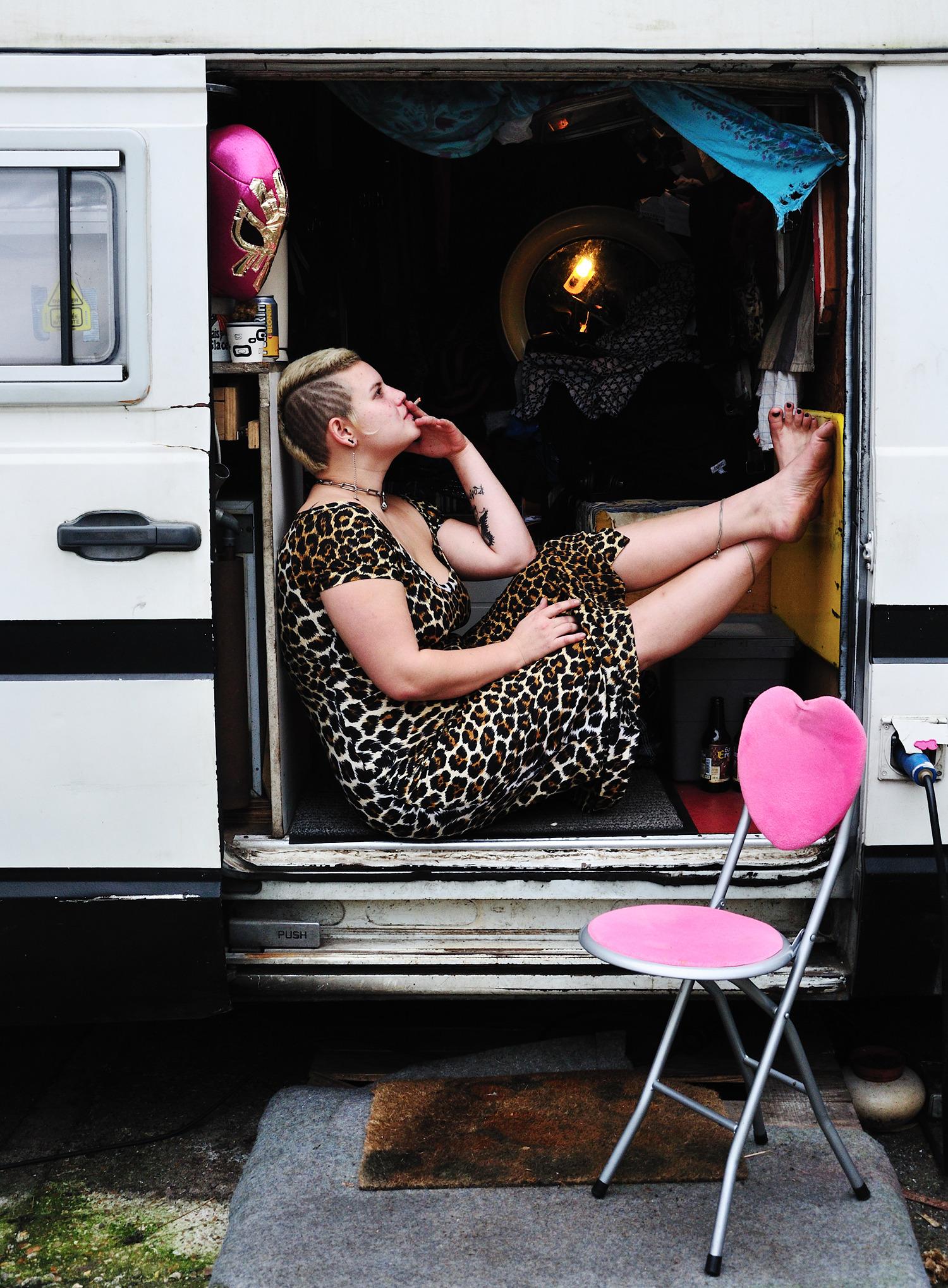 Mav chilling in her truck, Montreuil, France, 2014